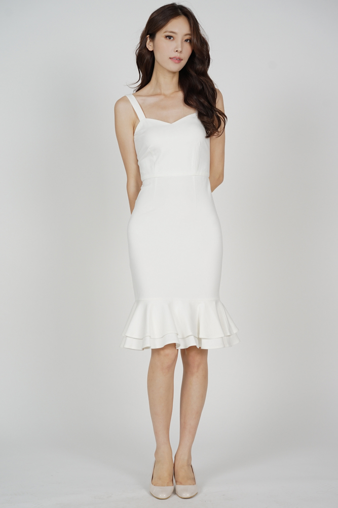 Marian Ruffled-Hem Dress in White - Arriving Soon