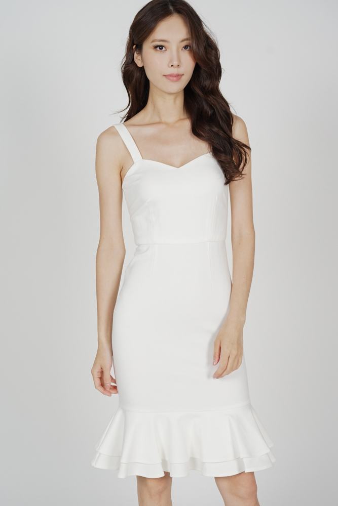 Marian Ruffled-Hem Dress in White
