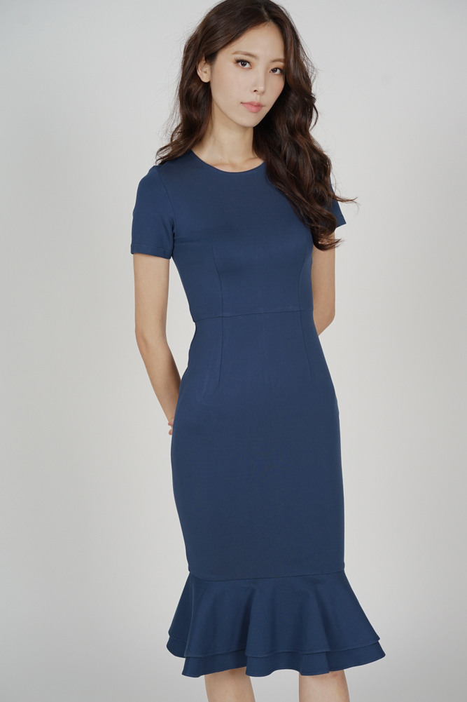 Claire Mermaid Dress in Blue