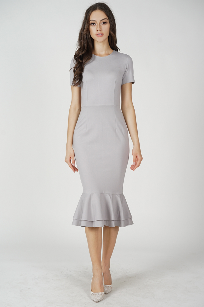 Claire Mermaid Dress in Light Grey