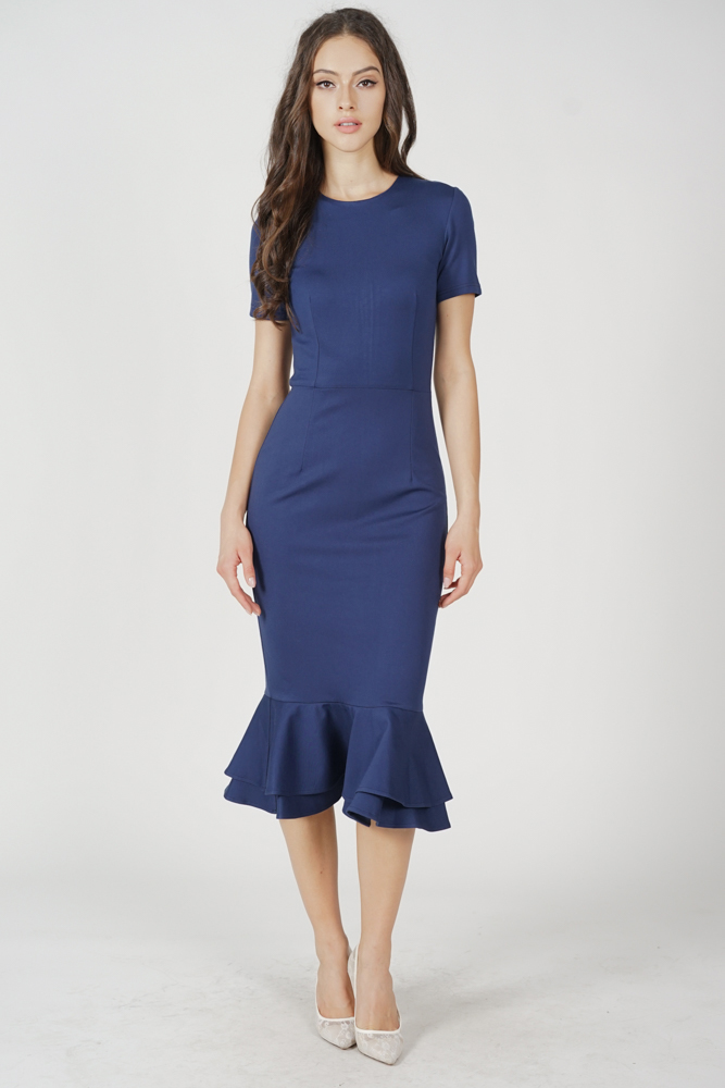 Claire Mermaid Dress in Navy