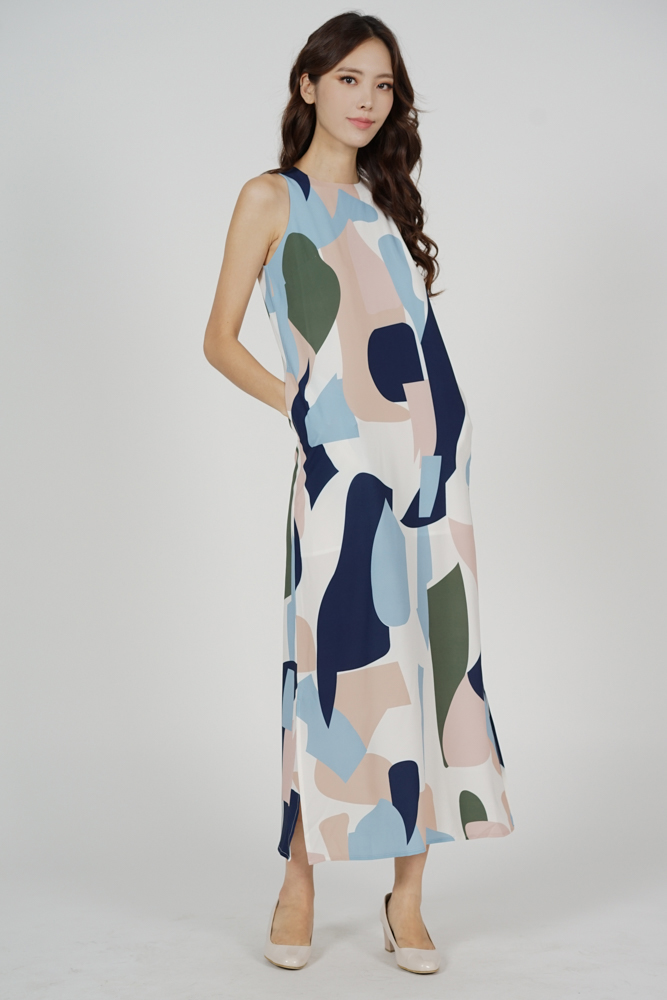 Klenia Straight Dress in Blue Abstract - Arriving Soon