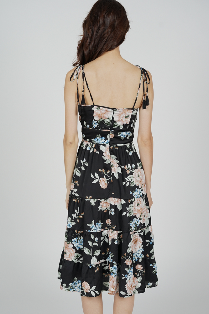 Edira Gathered Dress in Black Floral