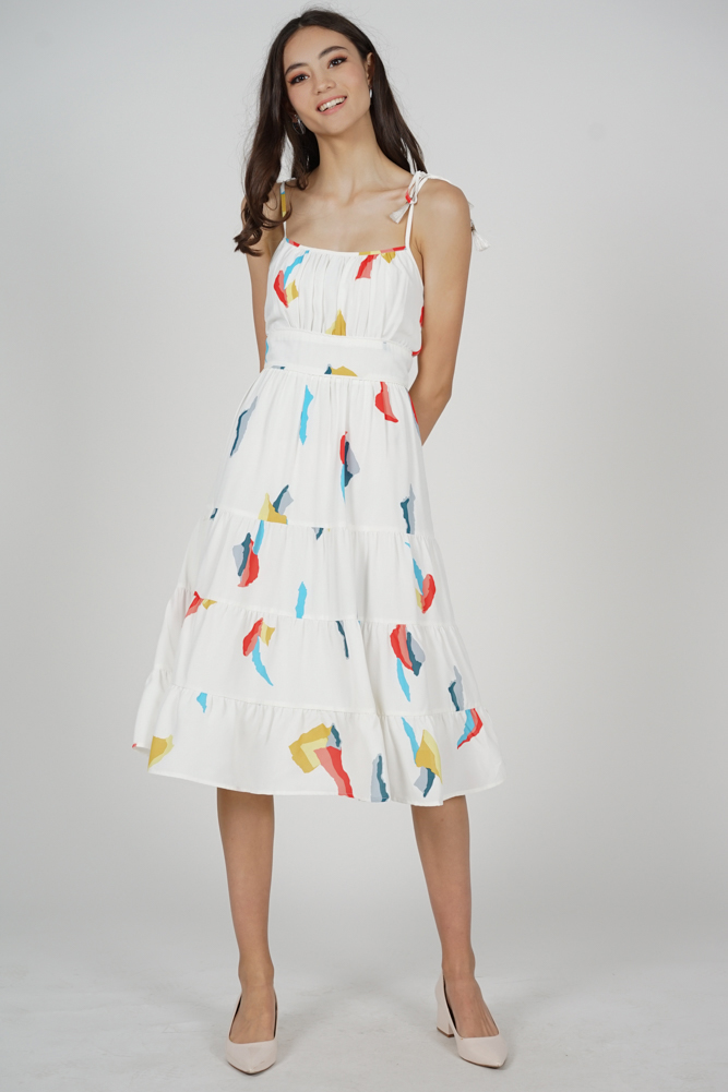 Edira Gathered Dress in White Abstract - Arriving Soon