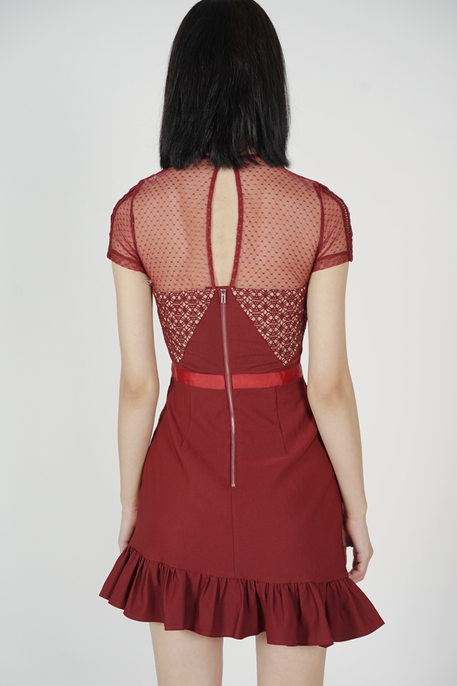 Adele Lace Dress in Red