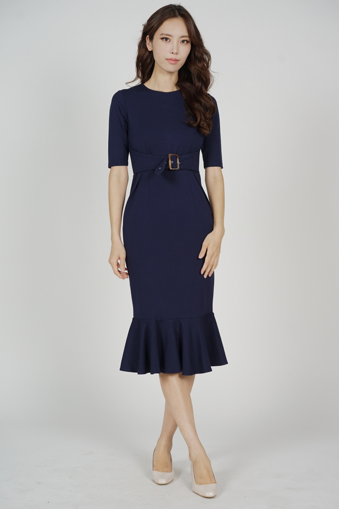 Payser Belted Dress in Midnight