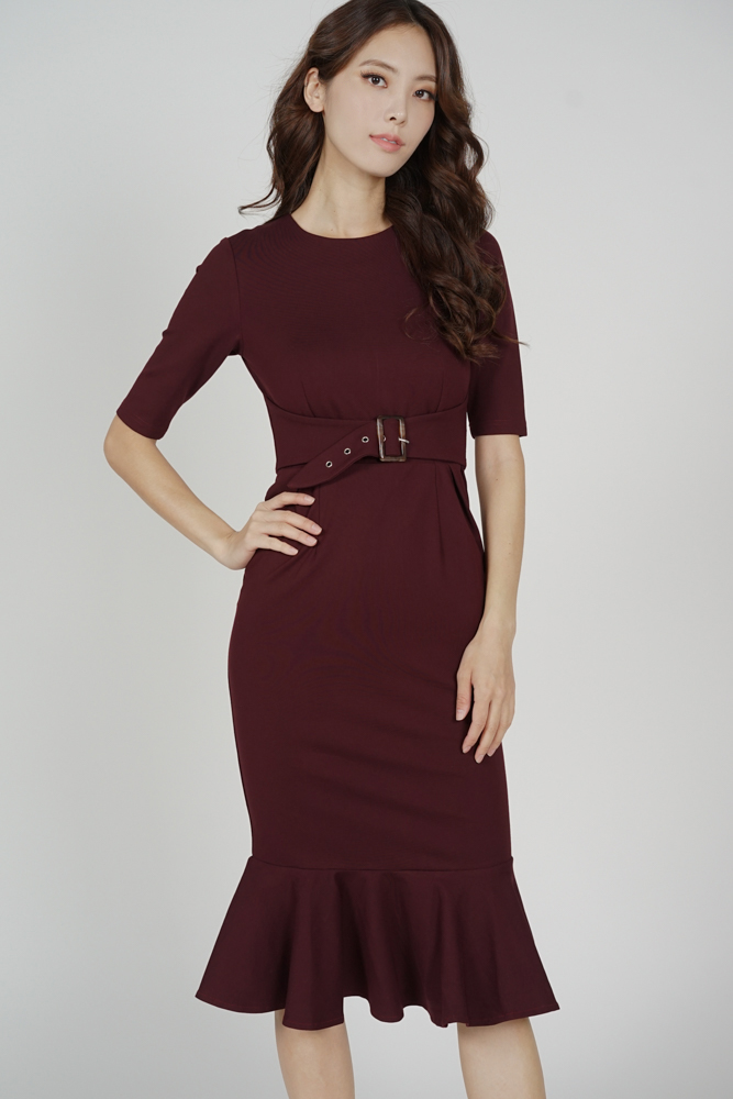 Payser Belted Dress in Oxblood