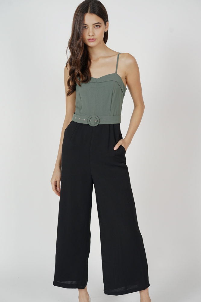 Madeline Wide Leg Jumpsuit in Green Black