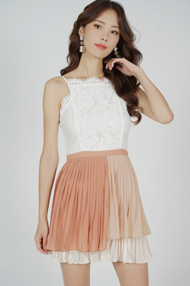 Judy Lace Pleated Dress in White