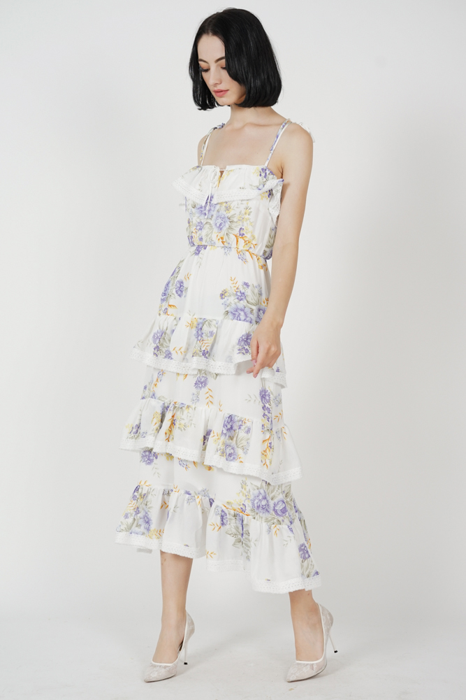 Dacia Tiered Dress in White Floral