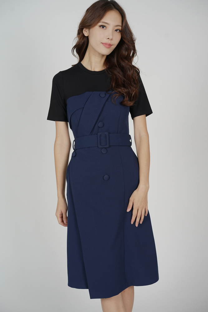 Miriza Contrast Dress in Midnight