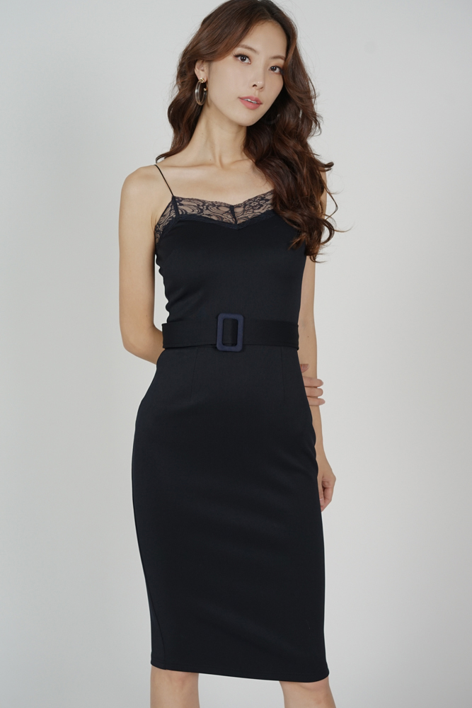 Arytte Lace-Trimmed Dress in Midnight - Arriving Soon
