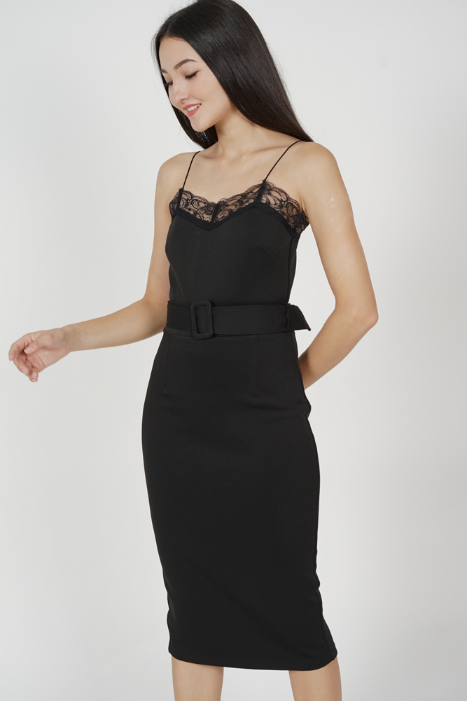 Arytte Lace-Trimmed Dress in Black