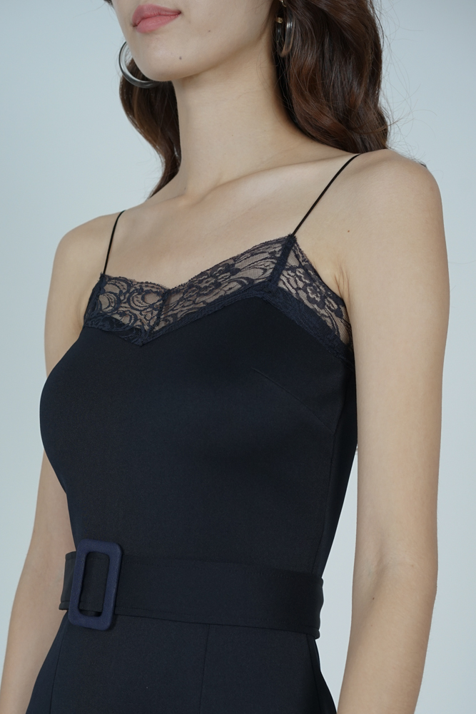 Arytte Lace-Trimmed Dress in Midnight
