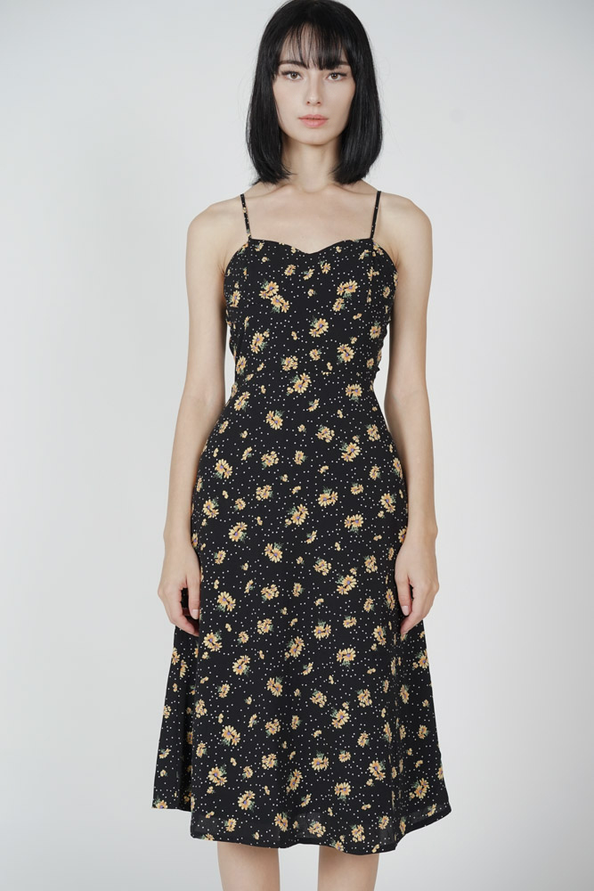 Dinaz Midi Dress in Black Yellow Floral
