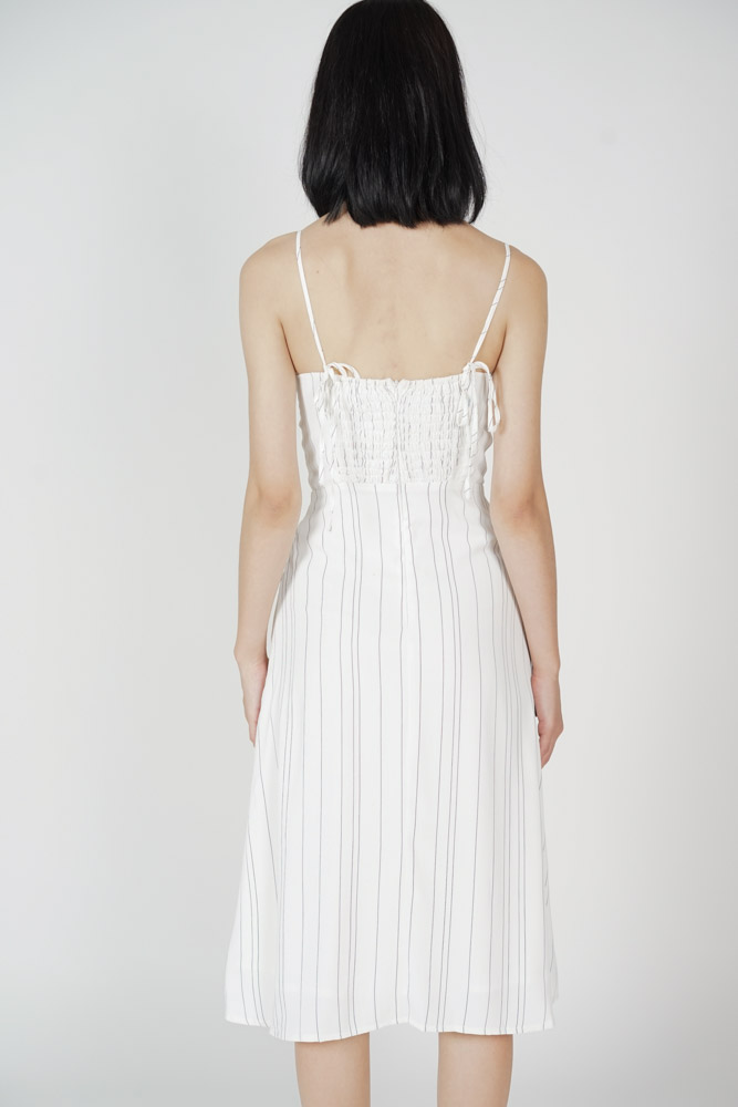 Dinaz Midi Dress in White Stripes - Arriving Soon