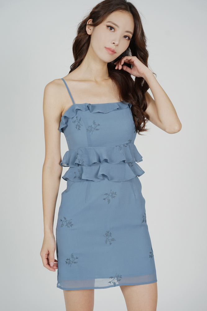 Keria Ruffled Dress in Blue Floral