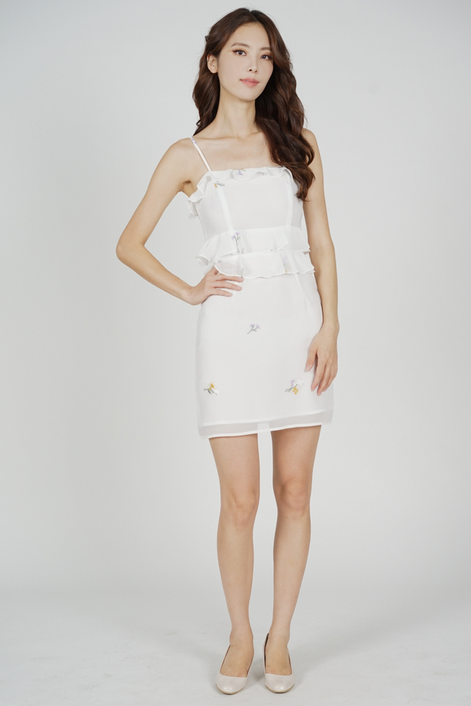 Keria Ruffled Dress in White Floral - Arriving Soon