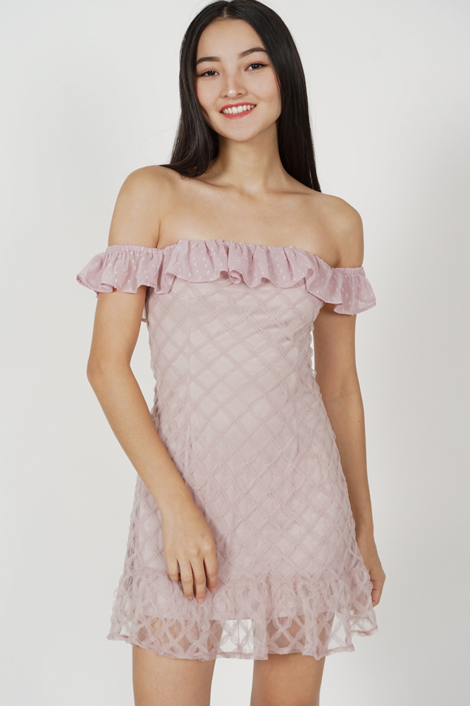Belca Ruffled Dress in Pink - Arriving Soon