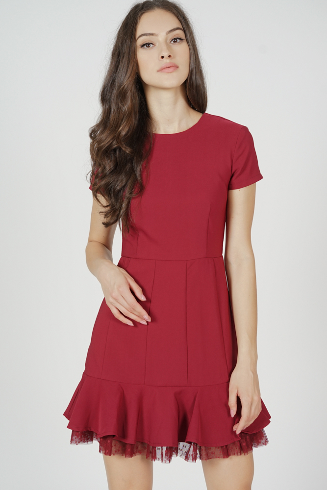 Tulsa Ruffled-Hem Dress in Oxblood - Arriving Soon