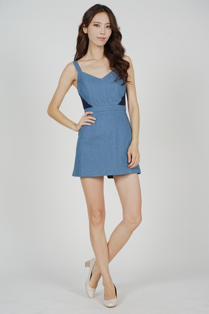 Mackenzie Lace-Trimmed Skorts Romper in Light Blue - Arriving Soon