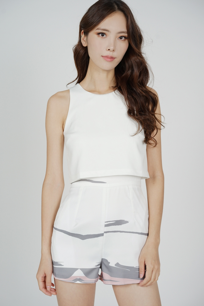 Yana Overlay Romper in White Grey