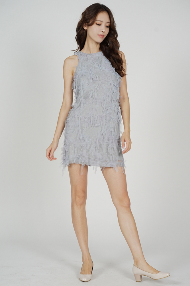 Kira Mesh Frill Dress in Ash Blue