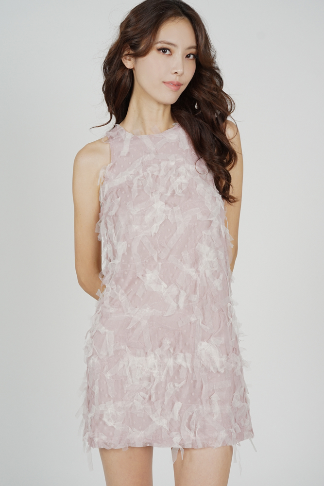 Kira Mesh Frill Dress in Pink - Arriving Soon