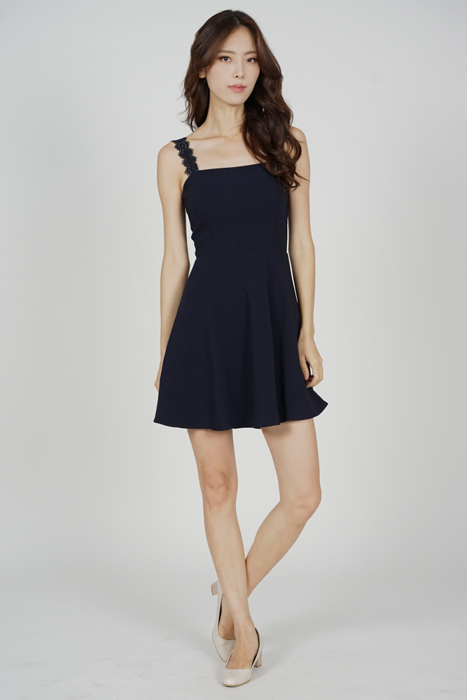 Sallie Flared Dress in Midnight - Arriving Soon