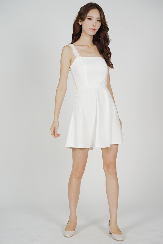 Sallie Flared Dress in White - Arriving Soon