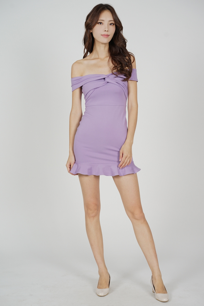 Verna Overlay Ruffled-Hem Dress in Lilac - Arriving Soon