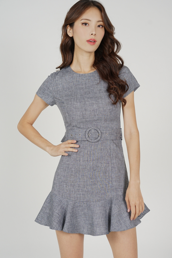 Rebbie Ruffled-Hem Dress in Grey