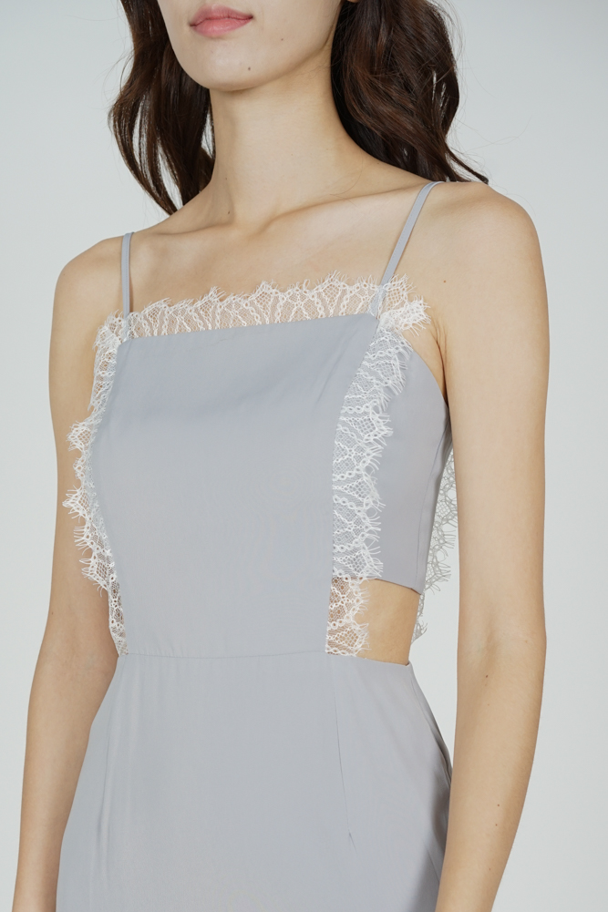 Brina Lace-Trimmed Dress in Grey