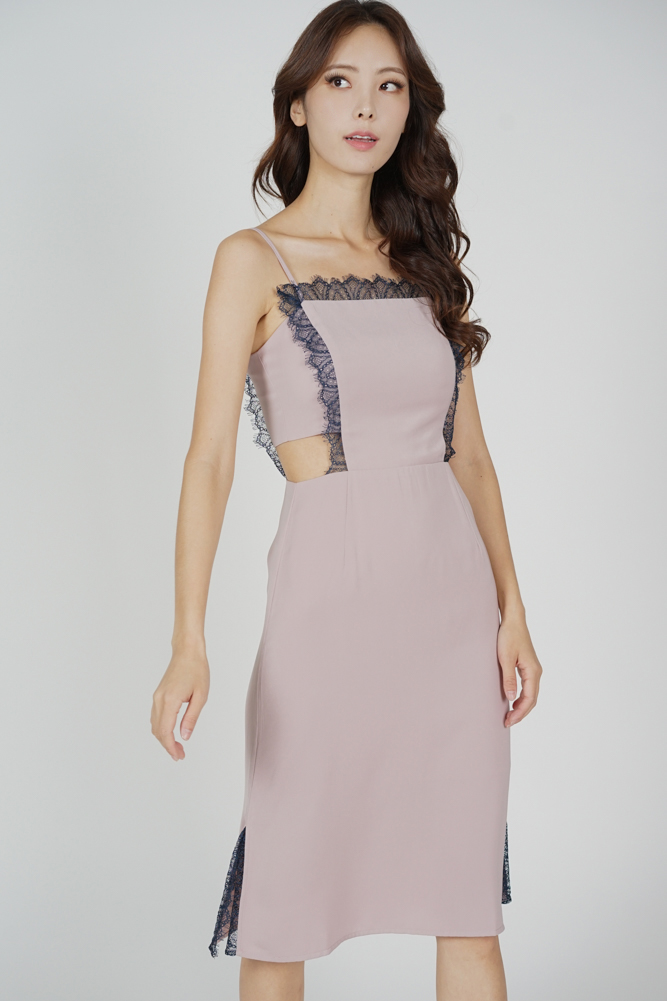 Brina Lace-Trimmed Dress in Pink