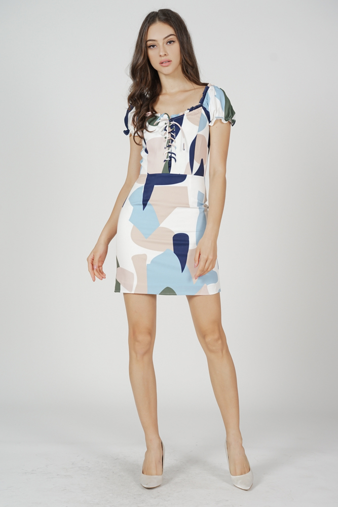 Mindy Lace-Up Dress in Blue Abstract
