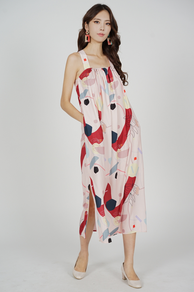 Marno Abstract Trapeze Dress in Pink Red