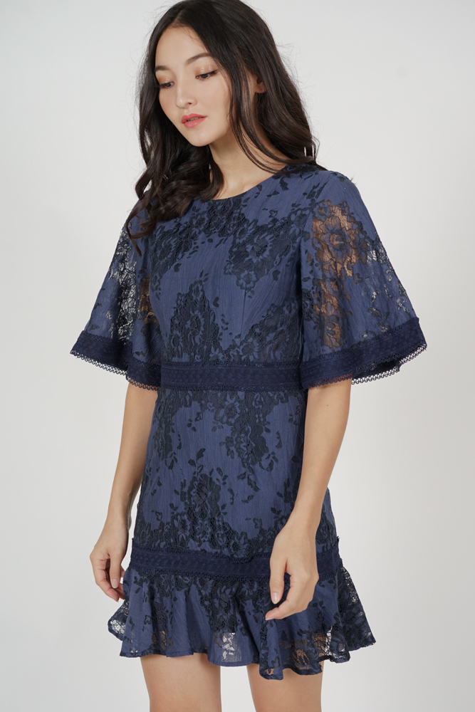 Kashla Lace Dress in Midnight - Arriving Soon