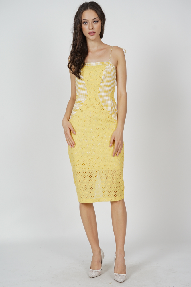 Lenka Eyelet Dress in Yellow Gingham