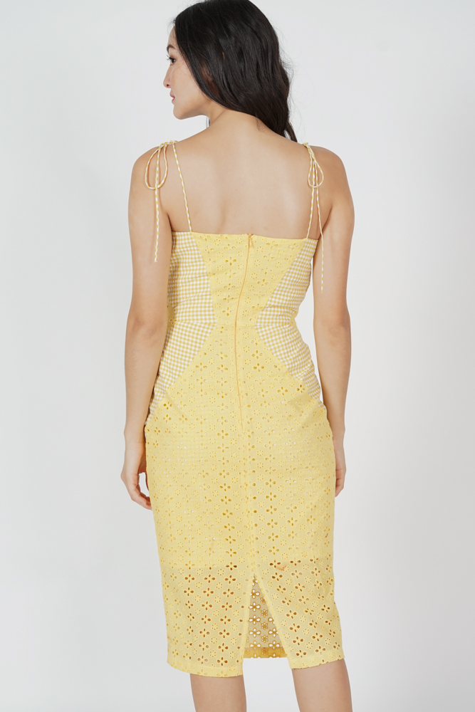 Lenka Eyelet Dress in Yellow Gingham - Arriving Soon