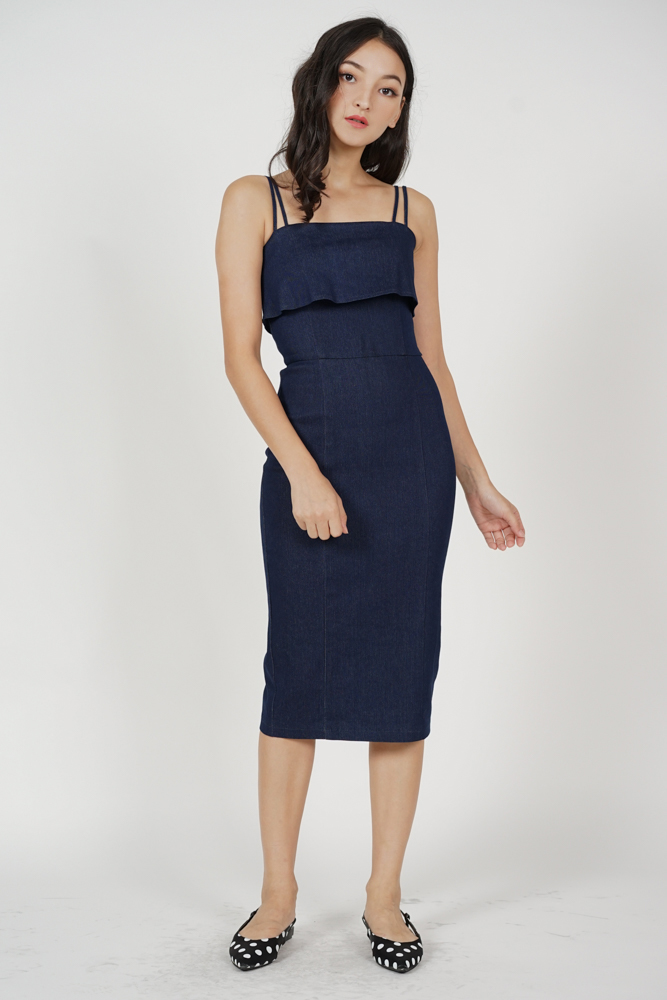 Tencel Overlay Denim Dress in Dark Blue - Arriving Soon