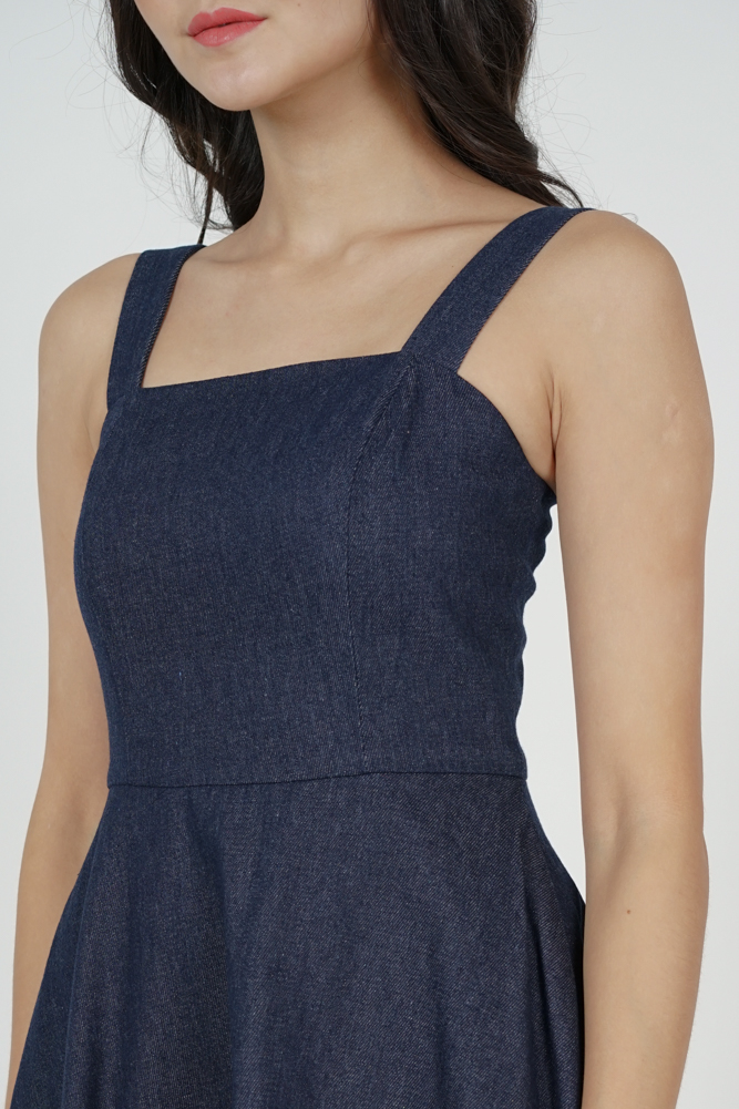 Marzia Denim Flared Dress in Dark Blue