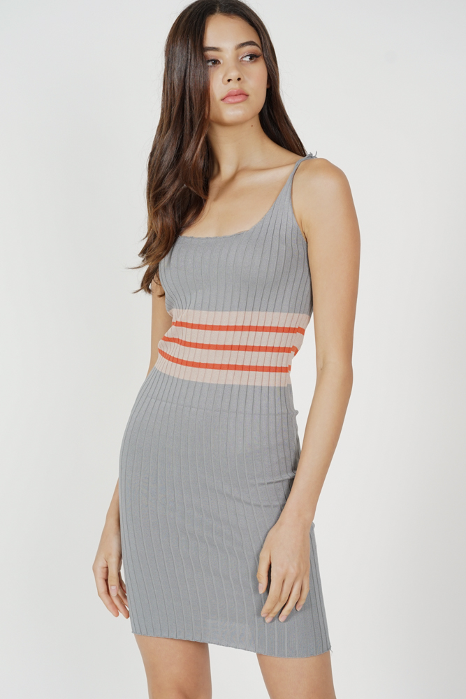Migen Contrast Knit Dress in Grey - Arriving Soon
