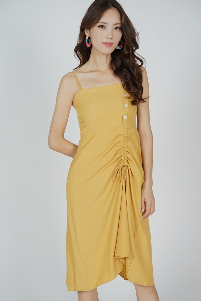 Urno Gathered Tie Dress in Mustard - Online Exclusive