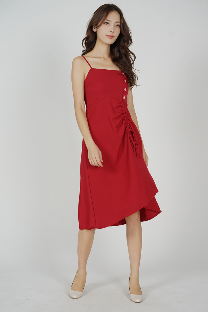 Urno Gathered Tie Dress in Red - Online Exclusive