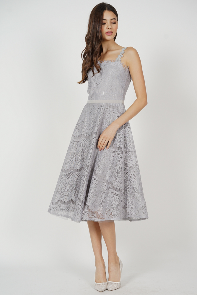 Daven Lace Dress in Grey
