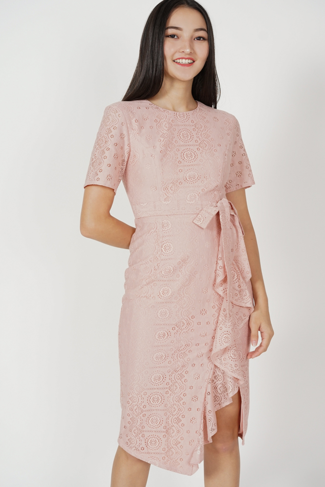 Yelaine Ruffled Lace Dress in Pink - Arriving Soon