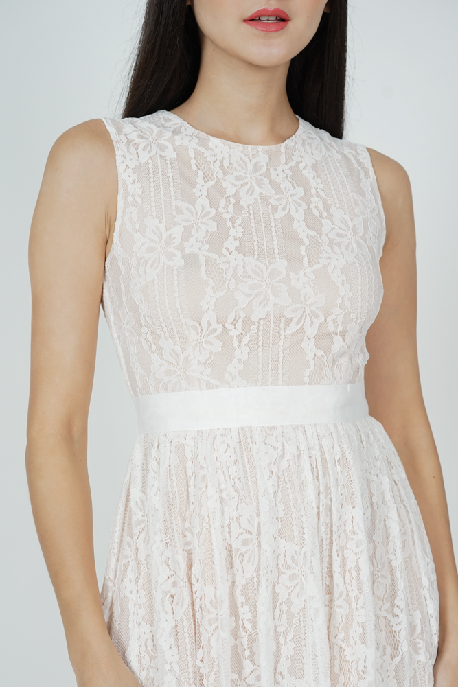 Pora Gathered Lace Dress in White - Arriving Soon