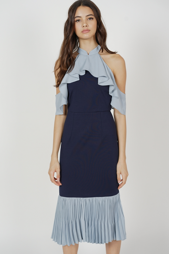 Theris Ruffled Halter Dress in Midnight