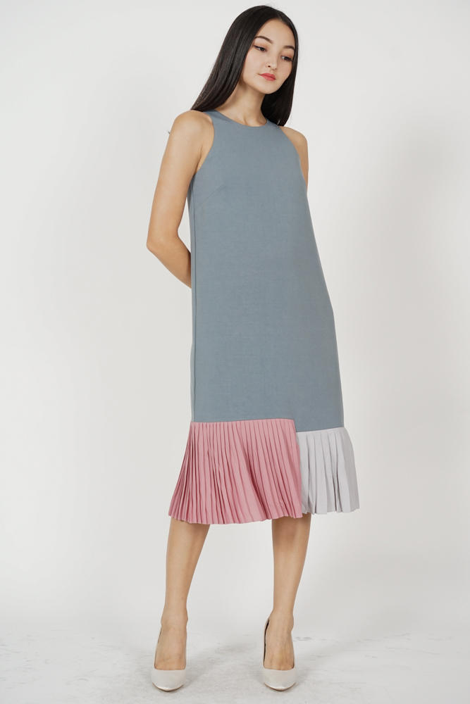 Darlton Pleated-Hem Dress in Dusty Grey - Arriving Soon
