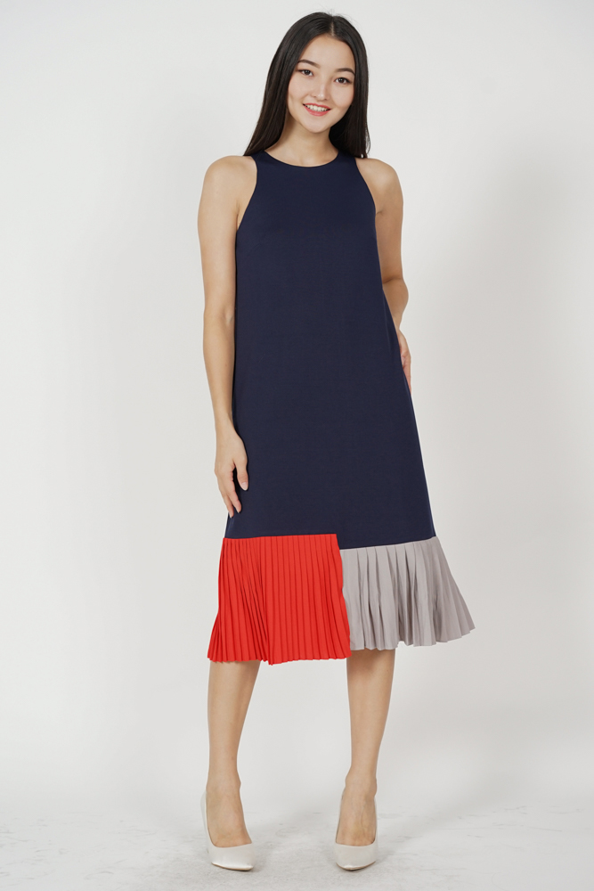 Darlton Pleated-Hem Dress in Midnight - Arriving Soon